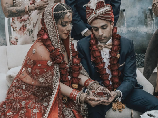 couple on their wedding day with muslim traditions, indian wedding